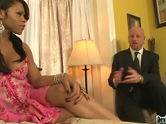 Sexy Ebony Transsexual  Gets Fucked Hard In The