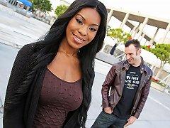 Ebony Nadia Jay Rides Big White Dick